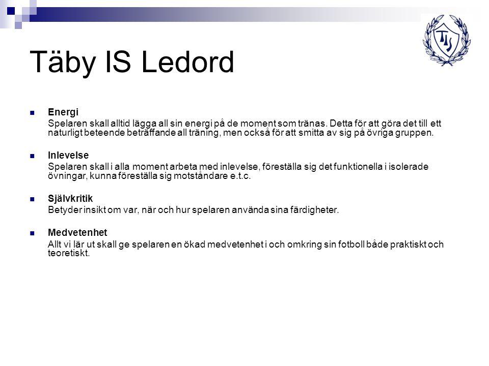 Täby IS Ledord Energi Spelaren skall alltid lägga all sin energi på de moment som tränas.