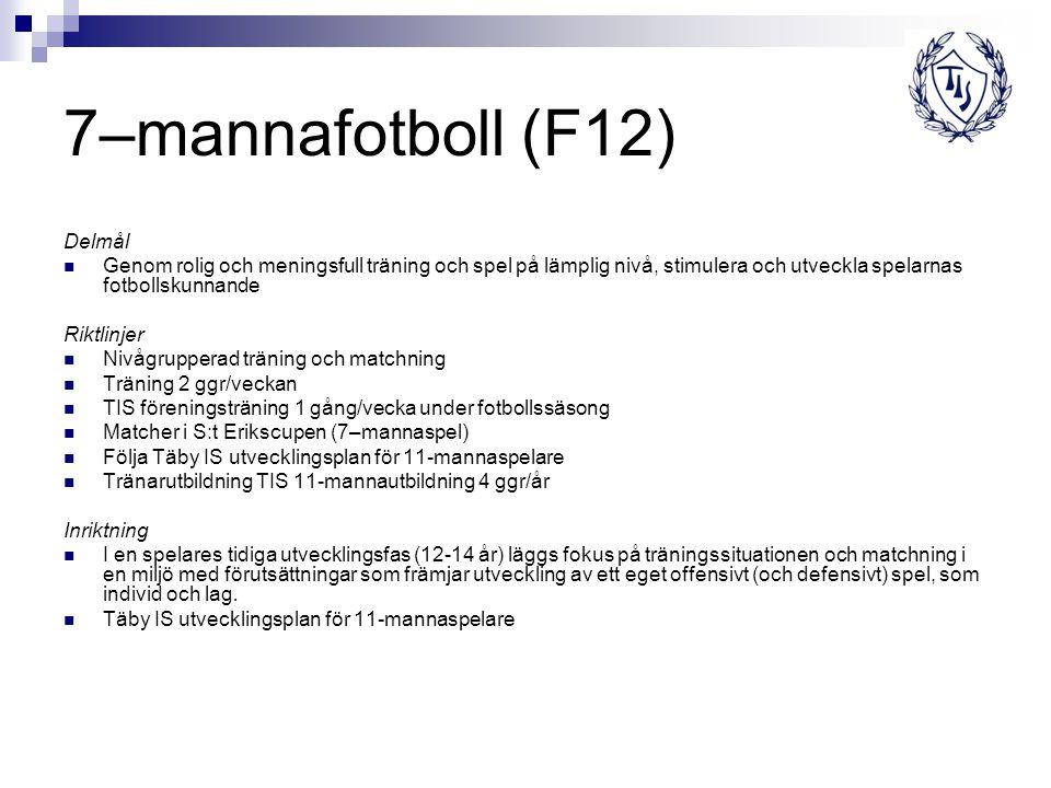 7–mannafotboll (F12) Delmål Genom rolig och meningsfull träning och spel på lämplig nivå, stimulera och utveckla spelarnas fotbollskunnande Riktlinjer Nivågrupperad träning och matchning Träning 2 ggr/veckan TIS föreningsträning 1 gång/vecka under fotbollssäsong Matcher i S:t Erikscupen (7–mannaspel) Följa Täby IS utvecklingsplan för 11-mannaspelare Tränarutbildning TIS 11-mannautbildning 4 ggr/år Inriktning I en spelares tidiga utvecklingsfas (12-14 år) läggs fokus på träningssituationen och matchning i en miljö med förutsättningar som främjar utveckling av ett eget offensivt (och defensivt) spel, som individ och lag.