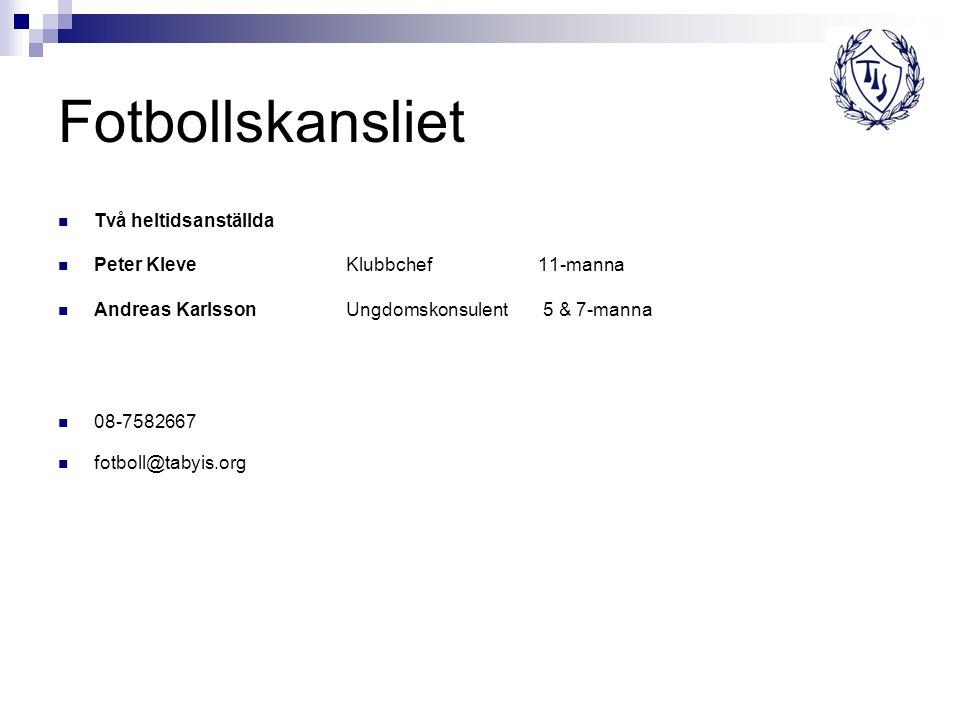 Fotbollskansliet Två heltidsanställda Peter Kleve Klubbchef 11-manna Andreas KarlssonUngdomskonsulent 5 & 7-manna 08-7582667 fotboll@tabyis.org