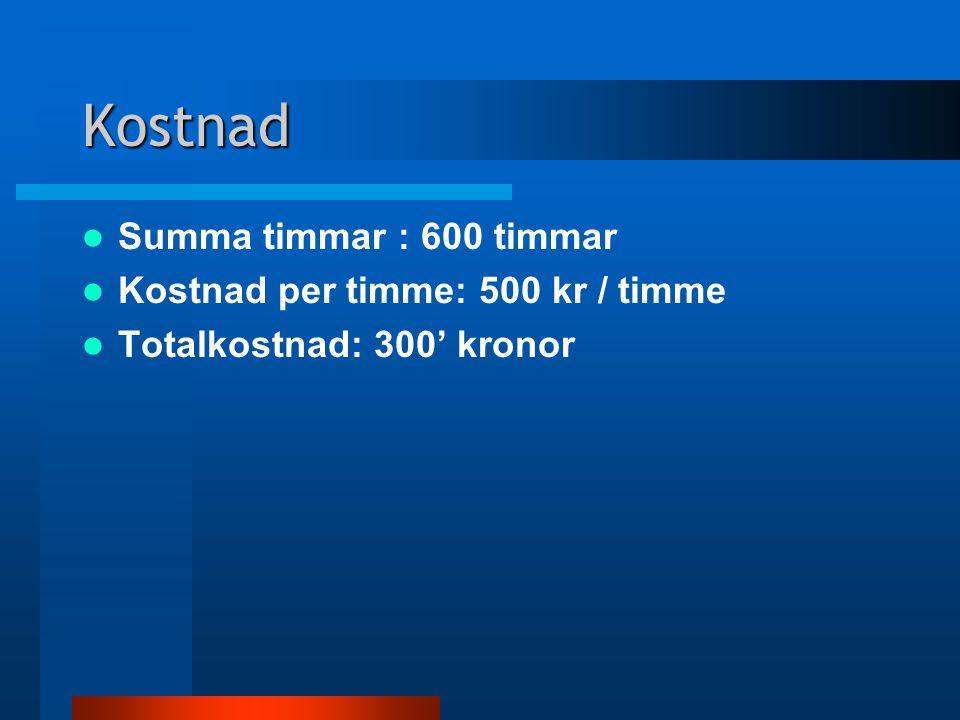 Kostnad Summa timmar : 600 timmar Kostnad per timme: 500 kr / timme Totalkostnad: 300' kronor