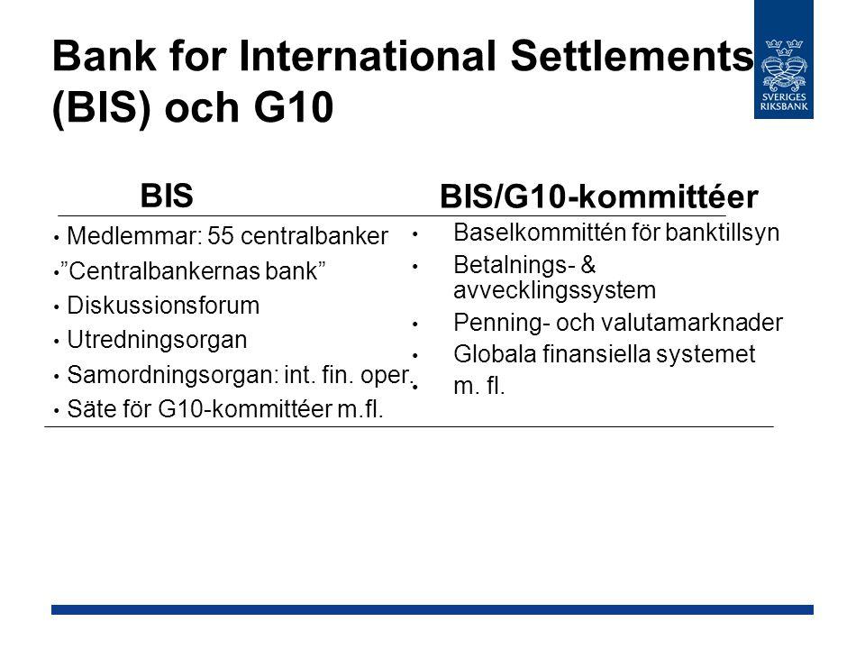 Bank for International Settlements (BIS) och G10 BIS/G10-kommittéer Baselkommittén för banktillsyn Betalnings- & avvecklingssystem Penning- och valutamarknader Globala finansiella systemet m.