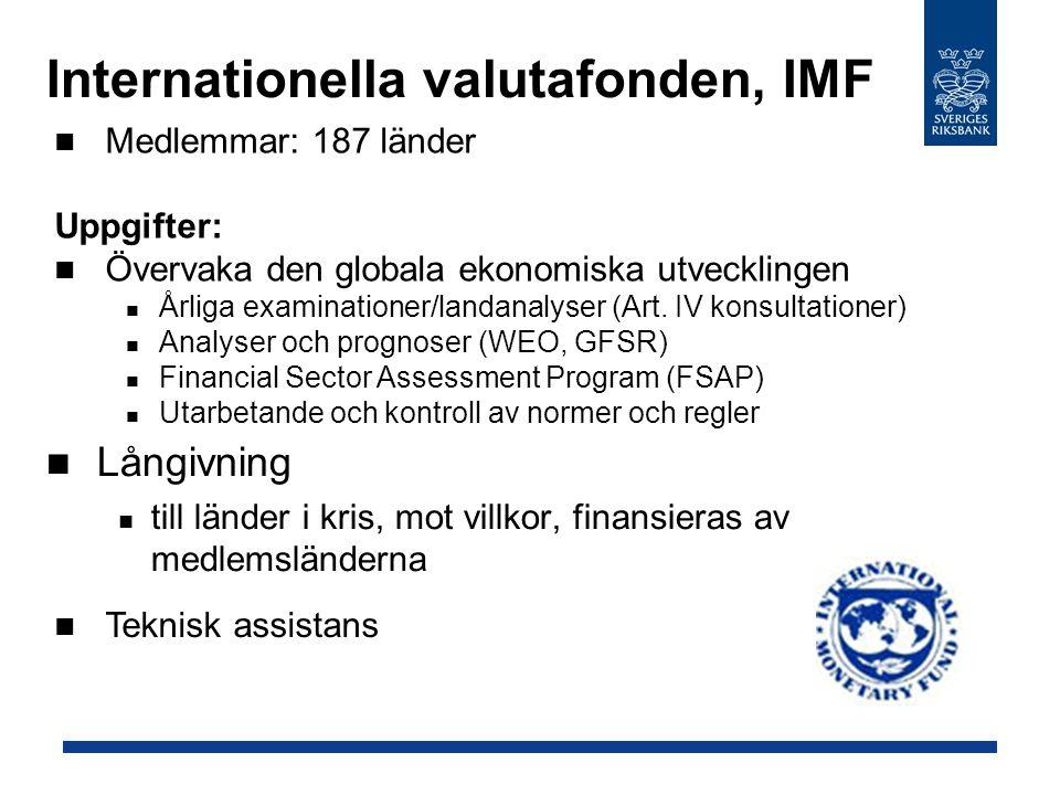  Internationella valutafonden, IMF Långivning till länder i kris, mot villkor, finansieras av medlemsländerna Medlemmar: 187 länder Uppgifter: Övervaka den globala ekonomiska utvecklingen Årliga examinationer/landanalyser (Art.