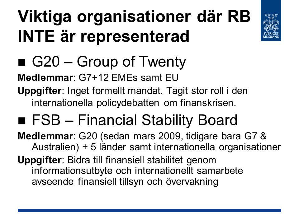 Viktiga organisationer där RB INTE är representerad G20 – Group of Twenty Medlemmar: G7+12 EMEs samt EU Uppgifter: Inget formellt mandat.