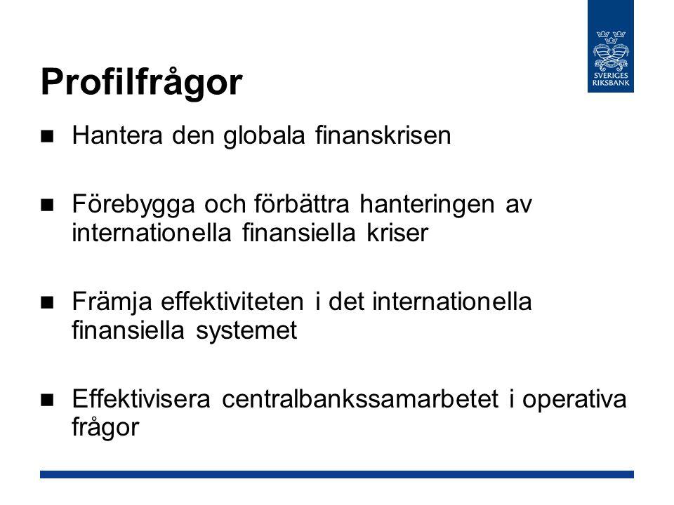 Profilfrågor Hantera den globala finanskrisen Förebygga och förbättra hanteringen av internationella finansiella kriser Främja effektiviteten i det internationella finansiella systemet Effektivisera centralbankssamarbetet i operativa frågor