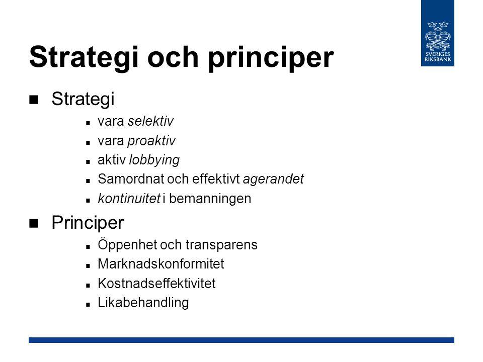 Strategi och principer Strategi vara selektiv vara proaktiv aktiv lobbying Samordnat och effektivt agerandet kontinuitet i bemanningen Principer Öppenhet och transparens Marknadskonformitet Kostnadseffektivitet Likabehandling