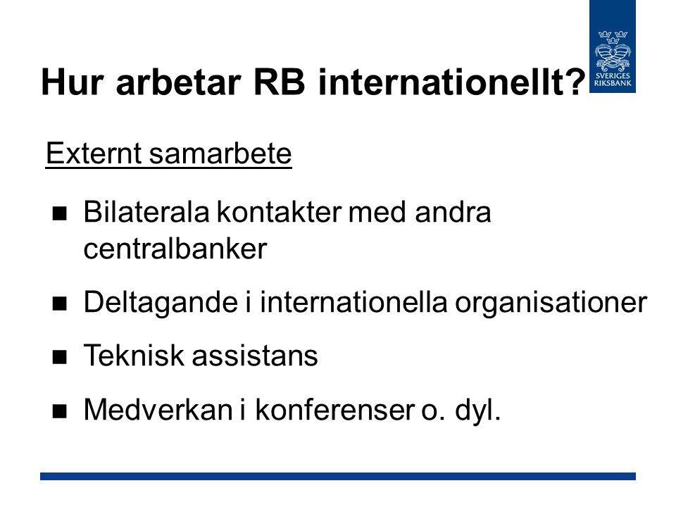 Hur arbetar RB internationellt? Externt samarbete Teknisk assistans Medverkan i konferenser o. dyl. Bilaterala kontakter med andra centralbanker Delta