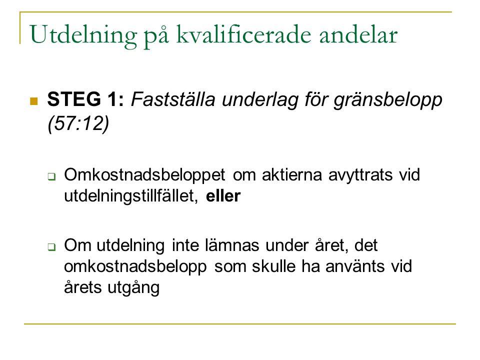 Utdelning på kvalificerade andelar STEG 1: Fastställa underlag för gränsbelopp (57:12)  Omkostnadsbeloppet om aktierna avyttrats vid utdelningstillfä