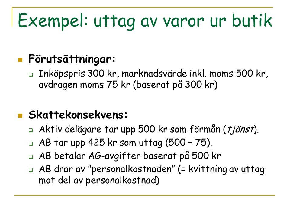 Exempel: uttag av varor ur butik Förutsättningar:  Inköpspris 300 kr, marknadsvärde inkl. moms 500 kr, avdragen moms 75 kr (baserat på 300 kr) Skatte