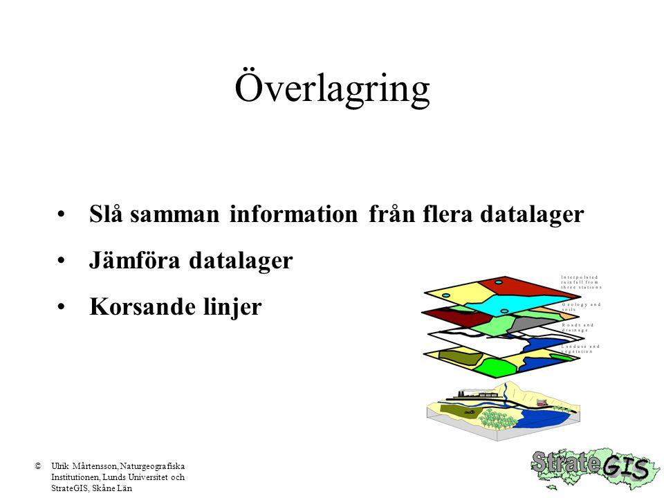 Överlagring Slå samman information från flera datalager Jämföra datalager Korsande linjer ©Ulrik Mårtensson, Naturgeografiska Institutionen, Lunds Uni