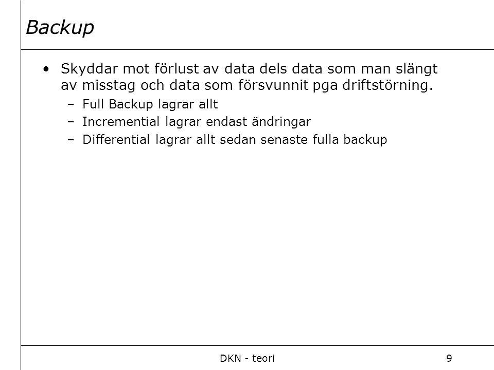 DKN - teori9 Backup Skyddar mot förlust av data dels data som man slängt av misstag och data som försvunnit pga driftstörning. –Full Backup lagrar all