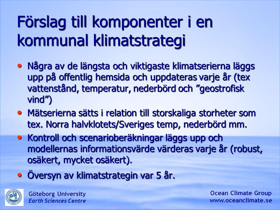 BALTEX-BACC- HELCOM assessment Ocean Climate Group www.oceanclimate.se Göteborg University Earth Sciences Centre
