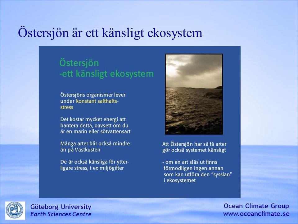 Salthalten är viktig för arterna i Östersjön Ocean Climate Group www.oceanclimate.se Göteborg University Earth Sciences Centre