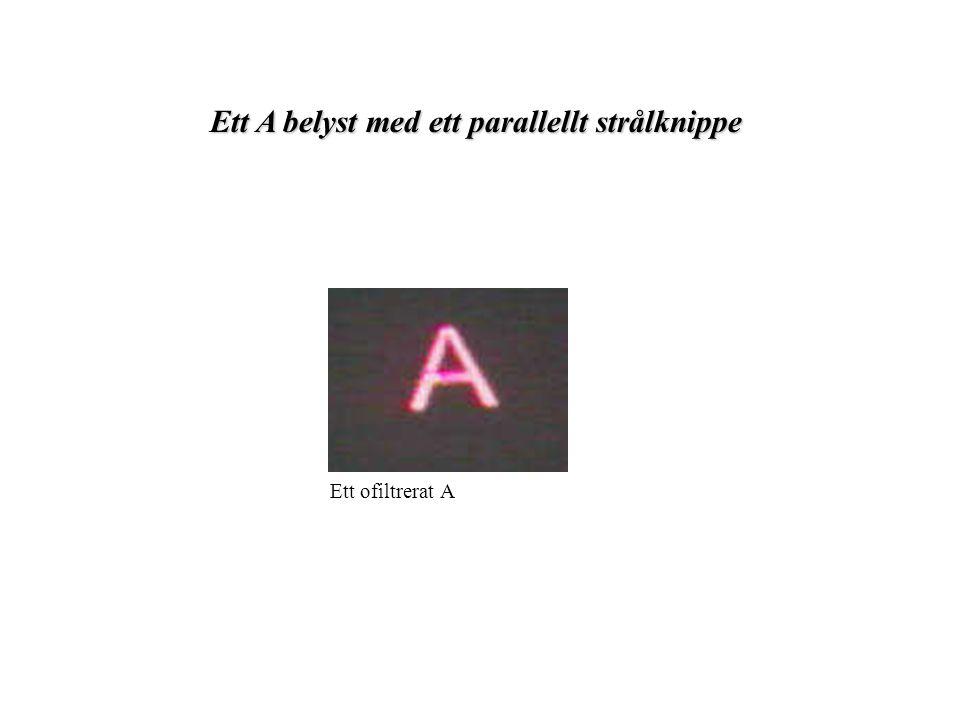 Ett A belyst med ett parallellt strålknippe Ett ofiltrerat A