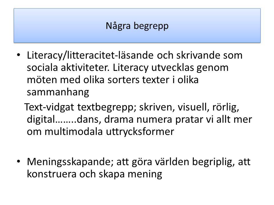 Några begrepp Literacy/litteracitet-läsande och skrivande som sociala aktiviteter. Literacy utvecklas genom möten med olika sorters texter i olika sam