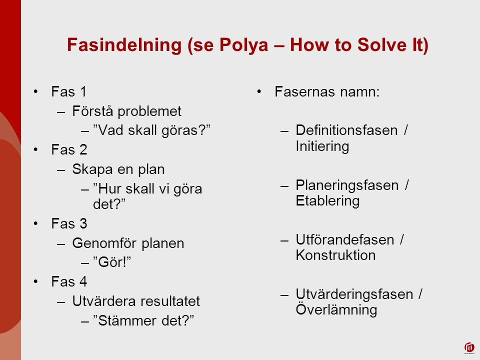 Fasindelning (se Polya – How to Solve It) Fas 1 –Förstå problemet – Vad skall göras? Fas 2 –Skapa en plan – Hur skall vi göra det? Fas 3 –Genomför planen – Gör! Fas 4 –Utvärdera resultatet – Stämmer det? Fasernas namn: –Definitionsfasen / Initiering –Planeringsfasen / Etablering –Utförandefasen / Konstruktion –Utvärderingsfasen / Överlämning