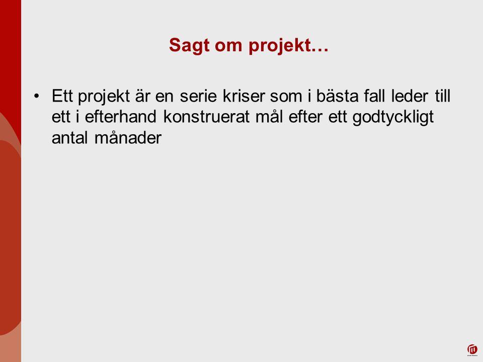 Sagt om projekt… Ett projekt är en serie kriser som i bästa fall leder till ett i efterhand konstruerat mål efter ett godtyckligt antal månader