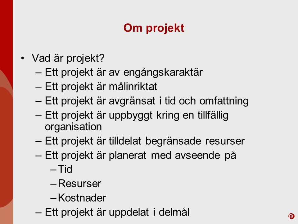 Olika typer av projekt Forskningsprojekt –Sökande projekt med lösa tyglar och tidsramar Utredningsprojekt –Starkt problemorienterat och given tidsram Utvecklingsprojekt –Visionärt och etappindelat Konstruktionsprojekt –Mycket konkreta mål, detaljerad planering, tydligt angivna resurser, klart angivet färdigdatum Genomförandeprojekt Utvärderingsprojekt