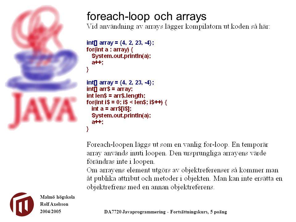 Malmö högskola Rolf Axelsson 2004/2005 DA7720 Javaprogrammering - Fortsättningskurs, 5 poäng foreach-loop och arrays