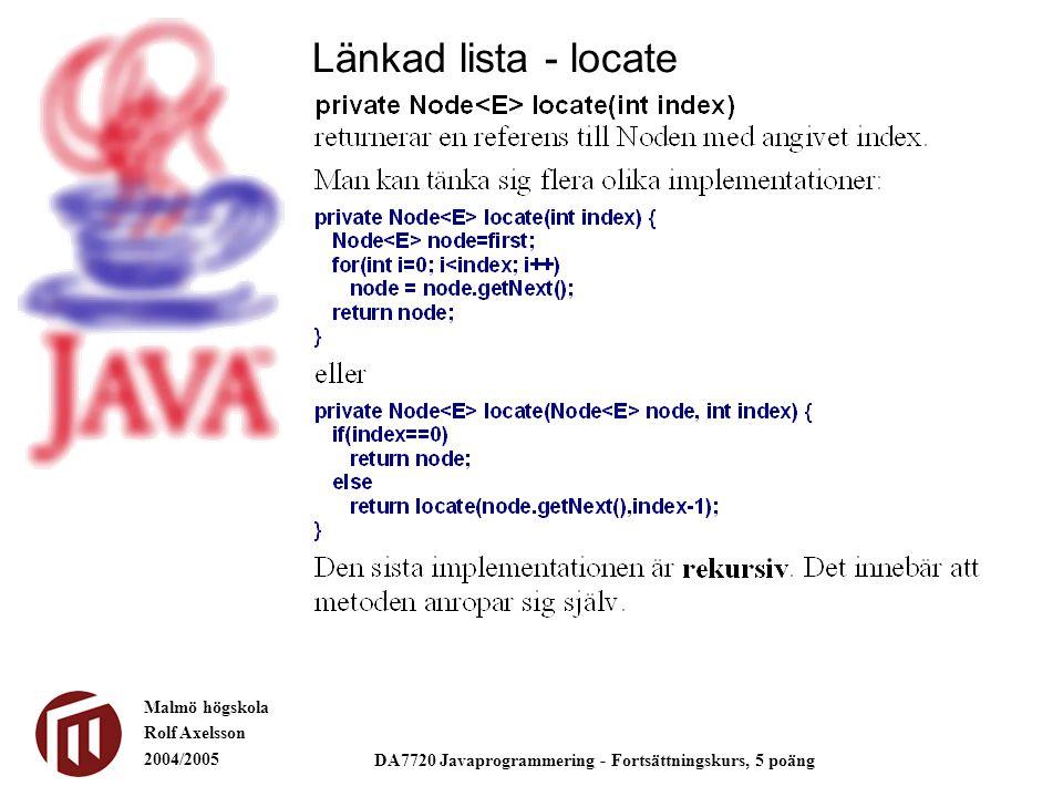Malmö högskola Rolf Axelsson 2004/2005 DA7720 Javaprogrammering - Fortsättningskurs, 5 poäng Länkad lista - locate