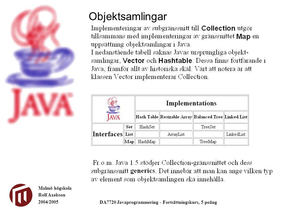 Malmö högskola Rolf Axelsson 2004/2005 DA7720 Javaprogrammering - Fortsättningskurs, 5 poäng Objektsamlingar
