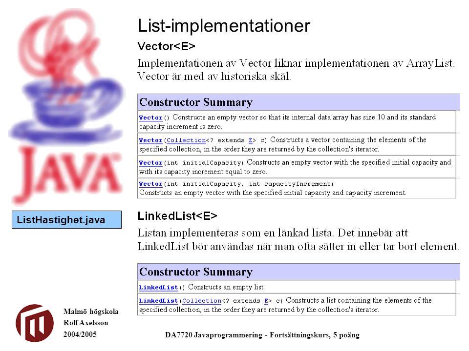 Malmö högskola Rolf Axelsson 2004/2005 DA7720 Javaprogrammering - Fortsättningskurs, 5 poäng List-implementationer ListHastighet.java