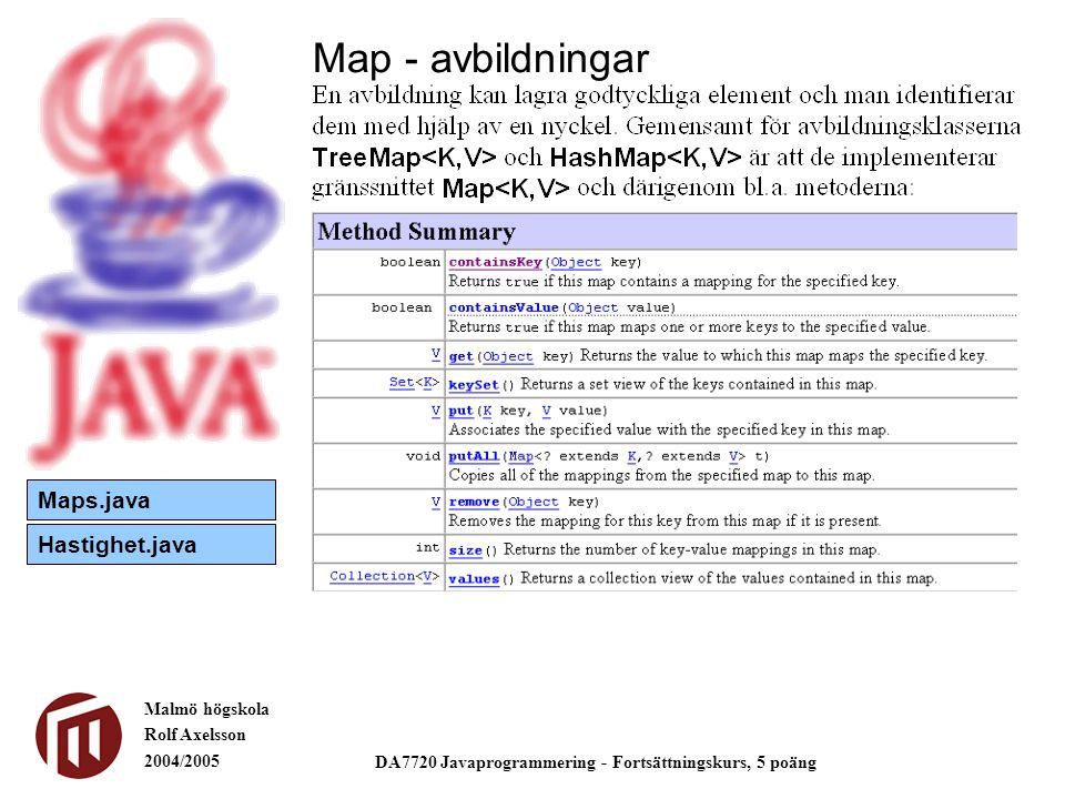 Malmö högskola Rolf Axelsson 2004/2005 DA7720 Javaprogrammering - Fortsättningskurs, 5 poäng Map - avbildningar Maps.java Hastighet.java