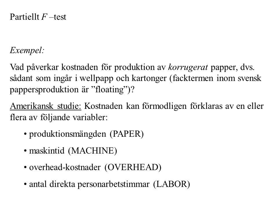 Partiellt F –test Exempel: Vad påverkar kostnaden för produktion av korrugerat papper, dvs.