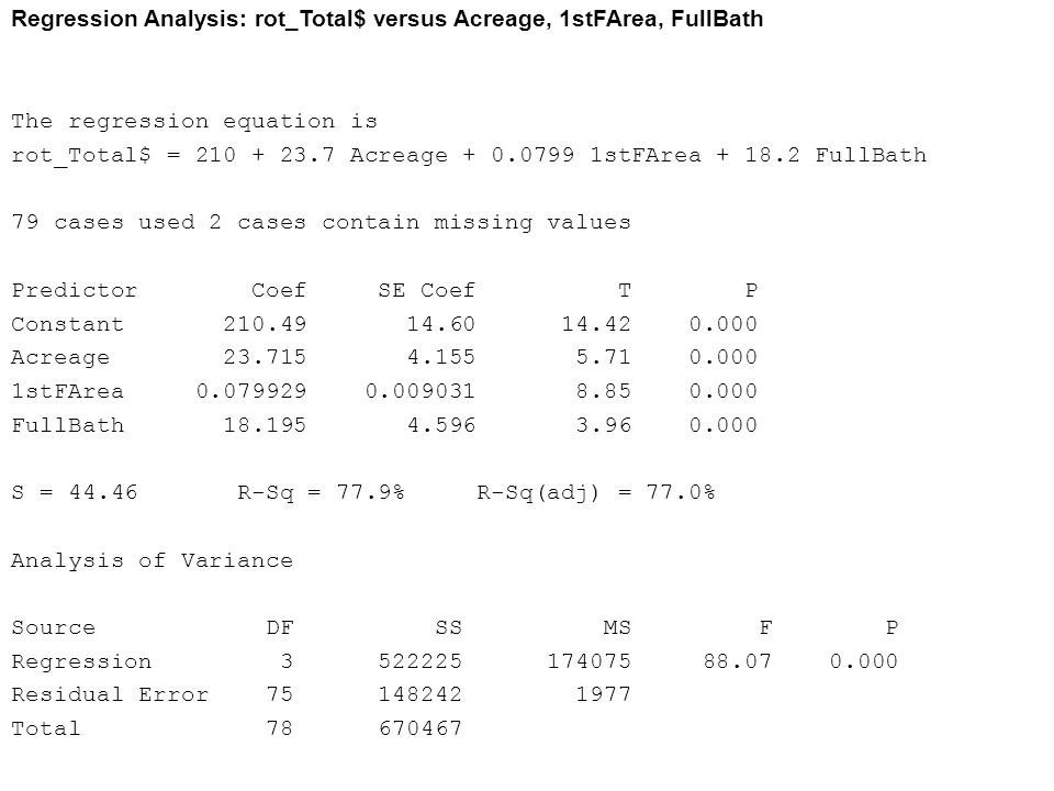 Regression Analysis: rot_Total$ versus Acreage, 1stFArea, FullBath The regression equation is rot_Total$ = 210 + 23.7 Acreage + 0.0799 1stFArea + 18.2
