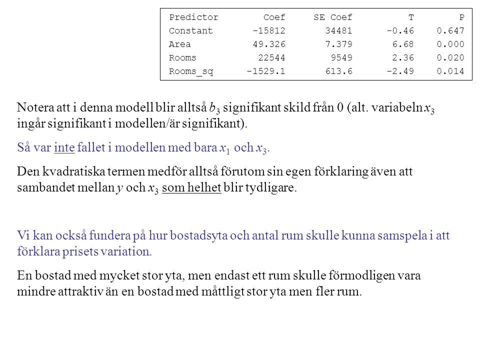 Predictor Coef SE Coef T P Constant -15812 34481 -0.46 0.647 Area 49.326 7.379 6.68 0.000 Rooms 22544 9549 2.36 0.020 Rooms_sq -1529.1 613.6 -2.49 0.014 Notera att i denna modell blir alltså b 3 signifikant skild från 0 (alt.