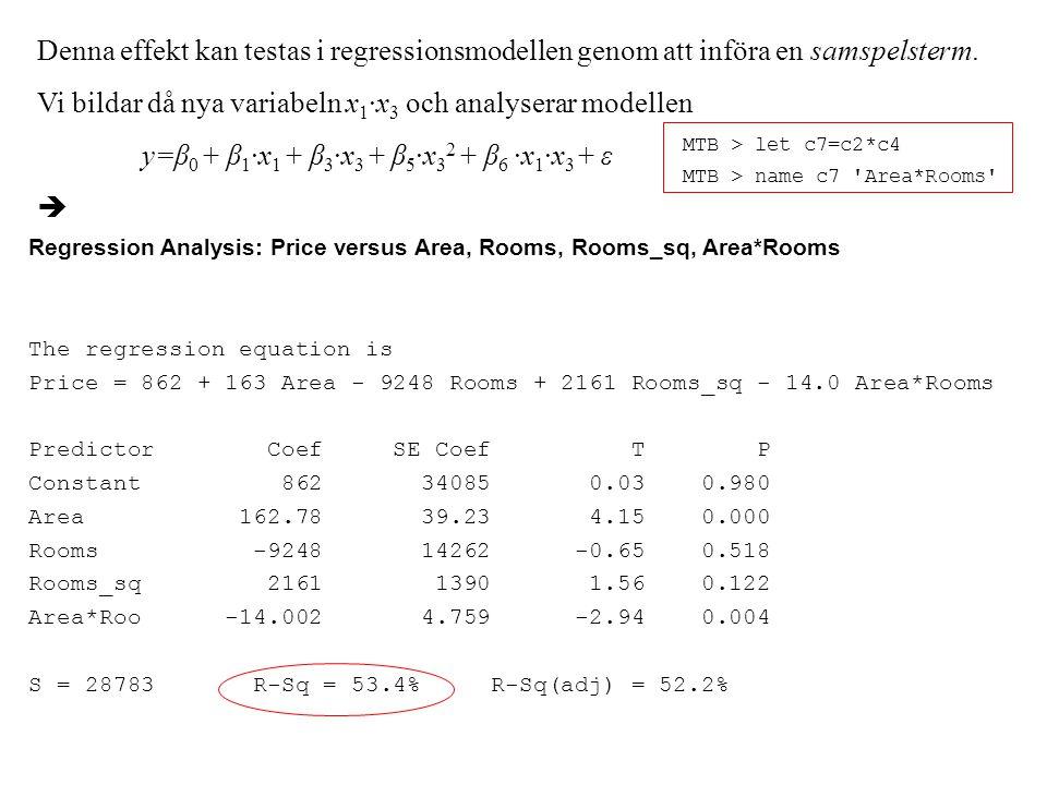Denna effekt kan testas i regressionsmodellen genom att införa en samspelsterm.