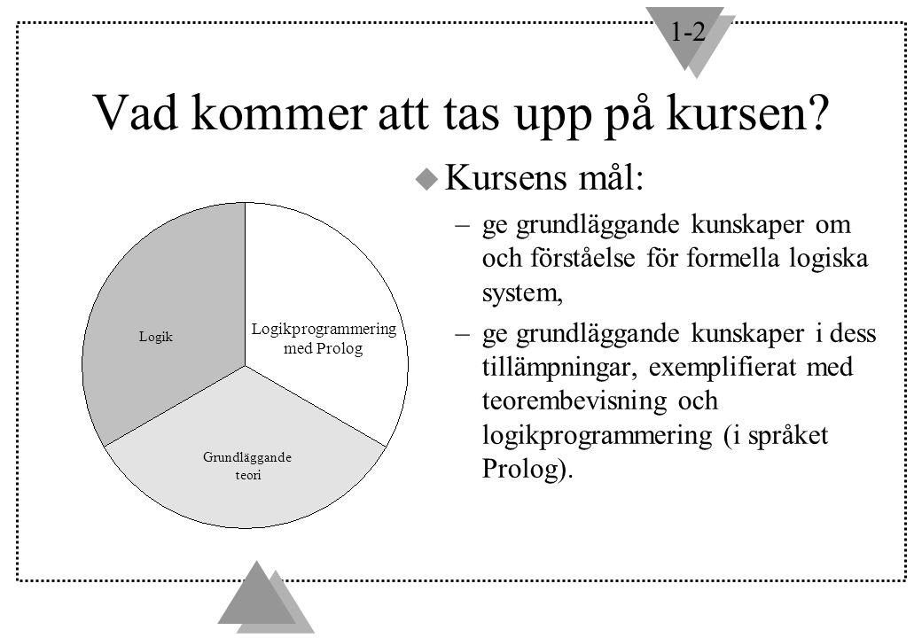 Logikprogrammering med Prolog Logik Grundläggande teori Vad kommer att tas upp på kursen? u Kursens mål: –ge grundläggande kunskaper om och förståelse