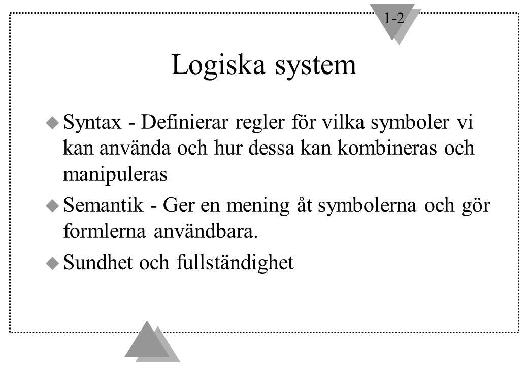 1-2 Logiska system u Syntax - Definierar regler för vilka symboler vi kan använda och hur dessa kan kombineras och manipuleras u Semantik - Ger en mening åt symbolerna och gör formlerna användbara.