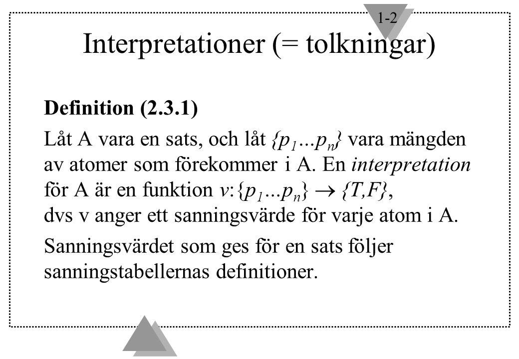 1-2 Interpretationer (= tolkningar) Definition (2.3.1) Låt A vara en sats, och låt {p 1 …p n } vara mängden av atomer som förekommer i A. En interpret