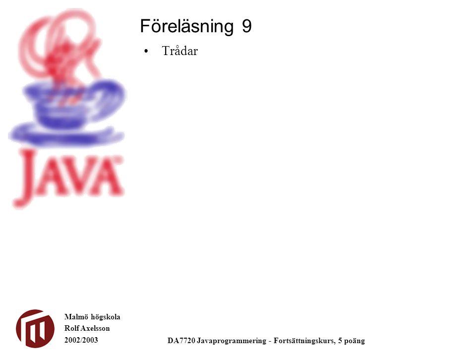 Malmö högskola Rolf Axelsson 2002/2003 DA7720 Javaprogrammering - Fortsättningskurs, 5 poäng Trådar Föreläsning 9
