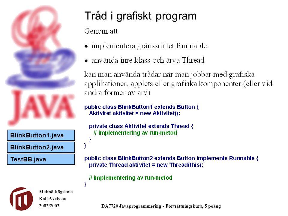 Malmö högskola Rolf Axelsson 2002/2003 DA7720 Javaprogrammering - Fortsättningskurs, 5 poäng Tråd i grafiskt program BlinkButton1.java BlinkButton2.ja