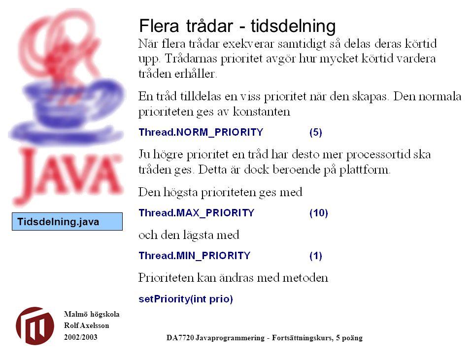 Malmö högskola Rolf Axelsson 2002/2003 DA7720 Javaprogrammering - Fortsättningskurs, 5 poäng Flera trådar - tidsdelning Tidsdelning.java