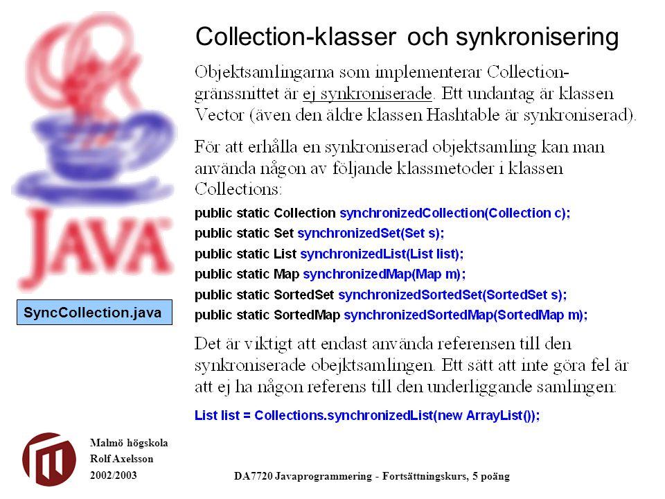 Malmö högskola Rolf Axelsson 2002/2003 DA7720 Javaprogrammering - Fortsättningskurs, 5 poäng Collection-klasser och synkronisering SyncCollection.java