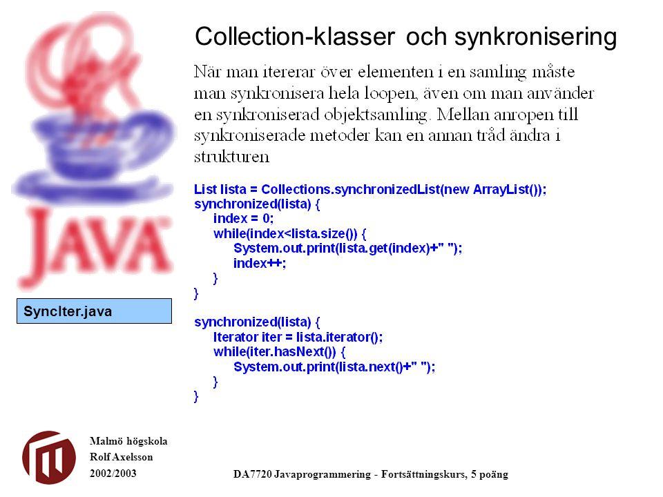 Malmö högskola Rolf Axelsson 2002/2003 DA7720 Javaprogrammering - Fortsättningskurs, 5 poäng Collection-klasser och synkronisering SyncIter.java