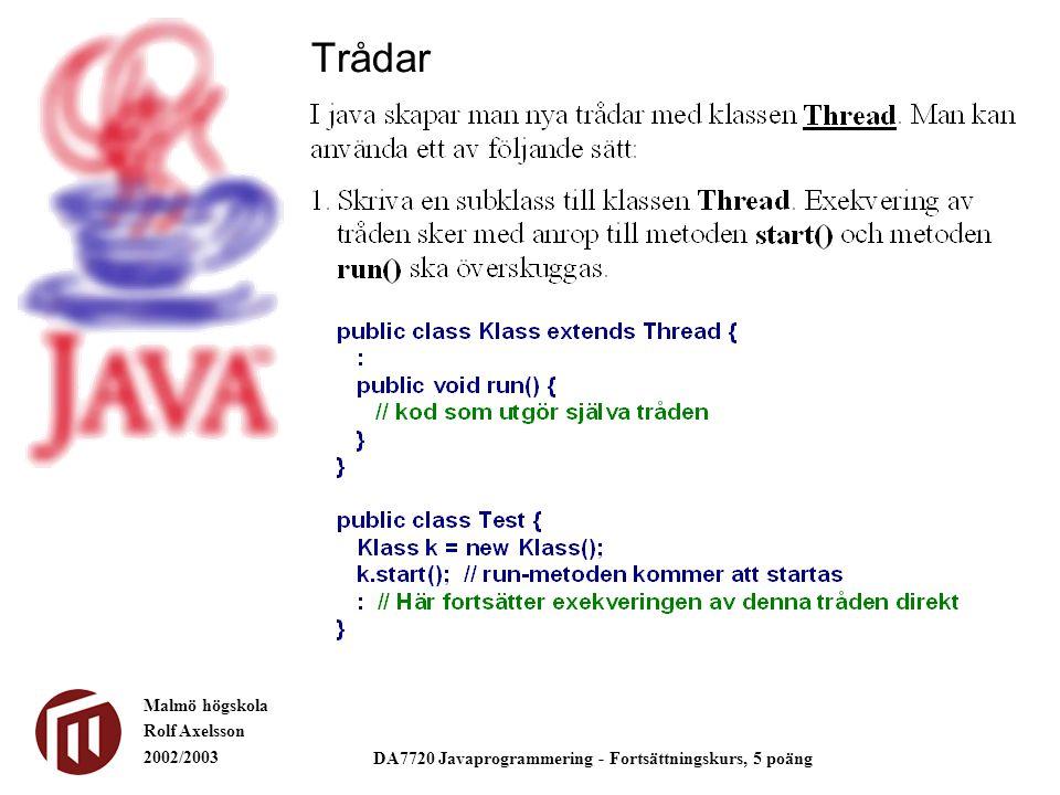 Malmö högskola Rolf Axelsson 2002/2003 DA7720 Javaprogrammering - Fortsättningskurs, 5 poäng Trådar