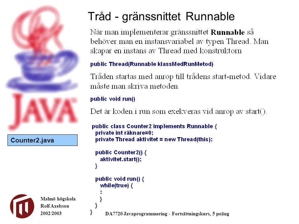 Malmö högskola Rolf Axelsson 2002/2003 DA7720 Javaprogrammering - Fortsättningskurs, 5 poäng Tråd - gränssnittet Runnable Counter2.java