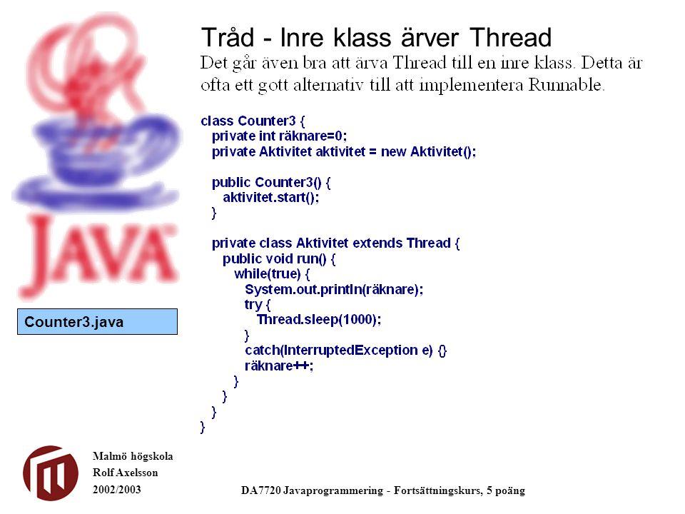 Malmö högskola Rolf Axelsson 2002/2003 DA7720 Javaprogrammering - Fortsättningskurs, 5 poäng Tråd - Inre klass ärver Thread Counter3.java