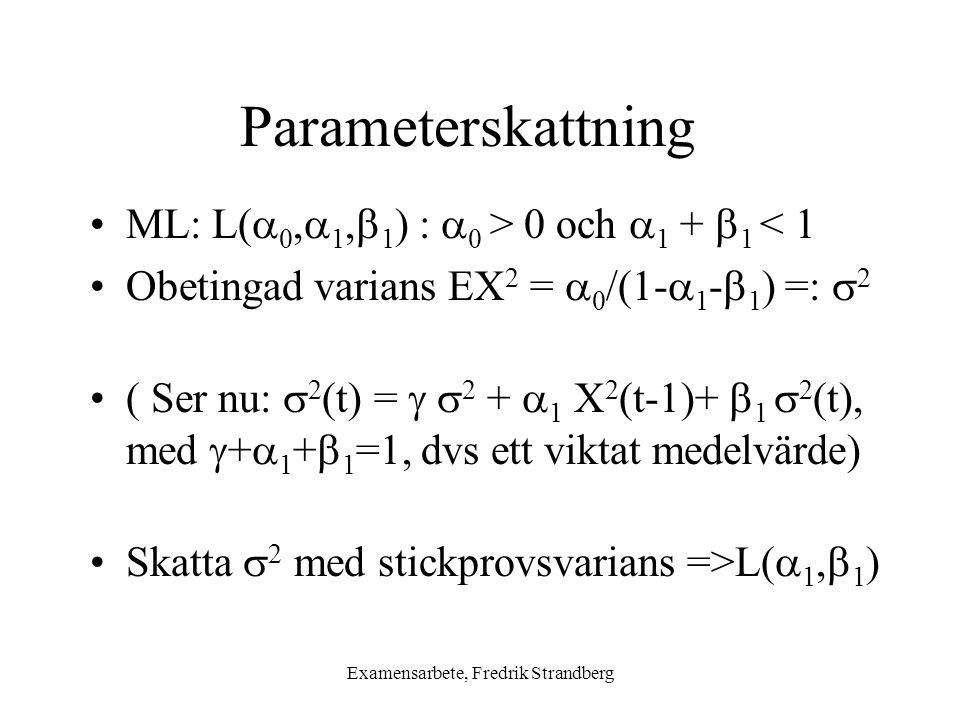 Examensarbete, Fredrik Strandberg Parameterskattning ML: L(  0,  1,  1 ) :  0 > 0 och  1 +  1 < 1 Obetingad varians EX 2 =  0 /(1-  1 -  1 ) =:  2 ( Ser nu:  2 (t) =   2 +  1 X 2 (t-1)+  1  2 (t), med  +  1 +  1 =1, dvs ett viktat medelvärde) Skatta  2 med stickprovsvarians =>L(  1,  1 )