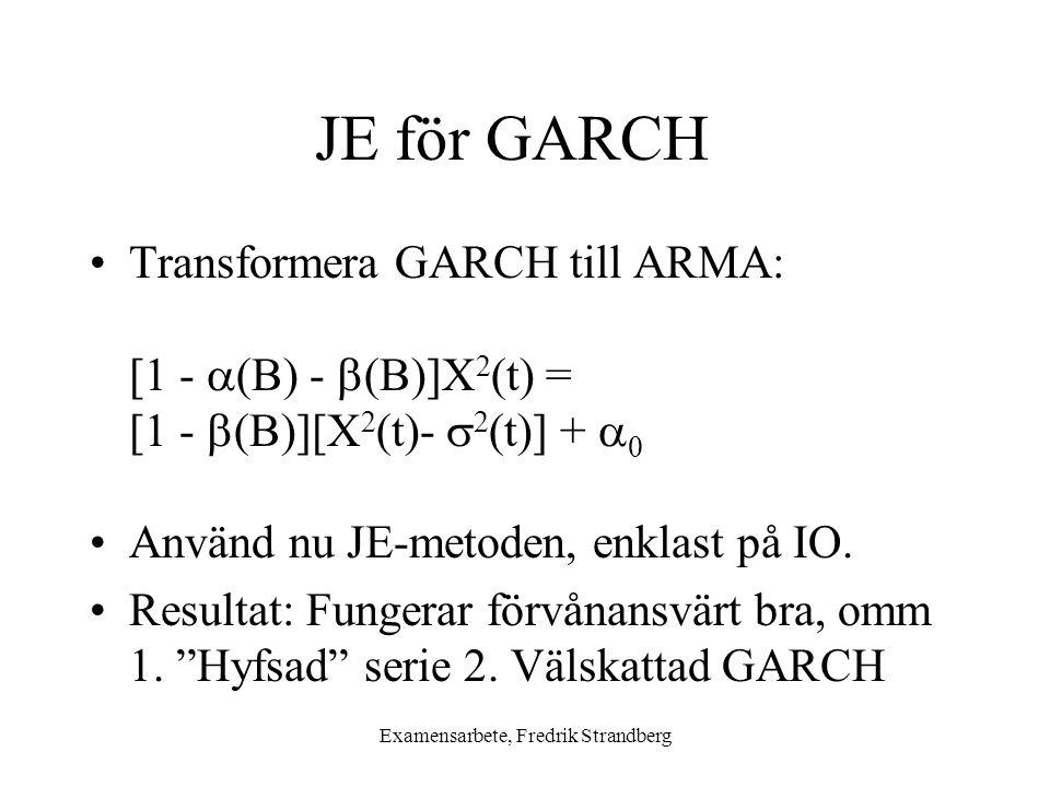 Examensarbete, Fredrik Strandberg JE för GARCH Transformera GARCH till ARMA: [1 -  (B) -  (B)]X 2 (t) = [1 -  (B)][X 2 (t)-  2 (t)] +  0 Använd nu JE-metoden, enklast på IO.