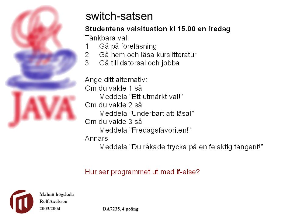 Malmö högskola Rolf Axelsson 2003/2004 DA7235, 4 poäng switch-satsen