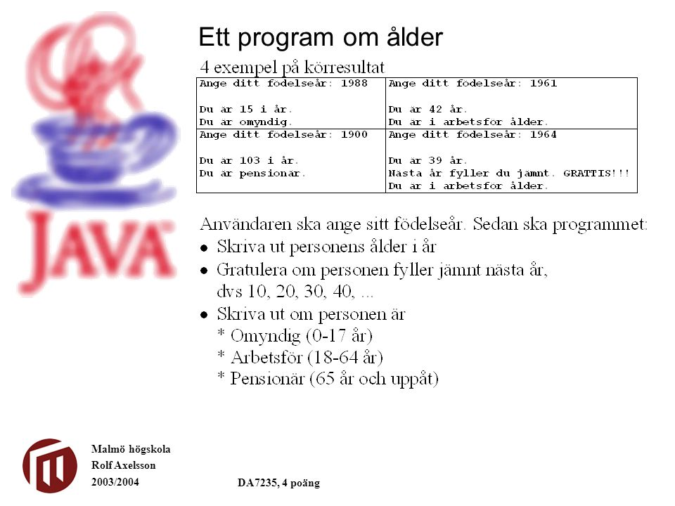 Malmö högskola Rolf Axelsson 2003/2004 DA7235, 4 poäng Ett program om ålder