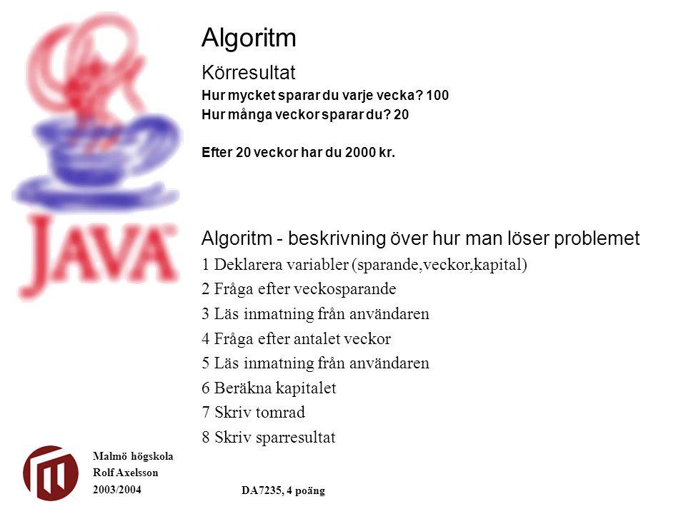 Malmö högskola Rolf Axelsson 2003/2004 DA7235, 4 poäng Körresultat Hur mycket sparar du varje vecka.