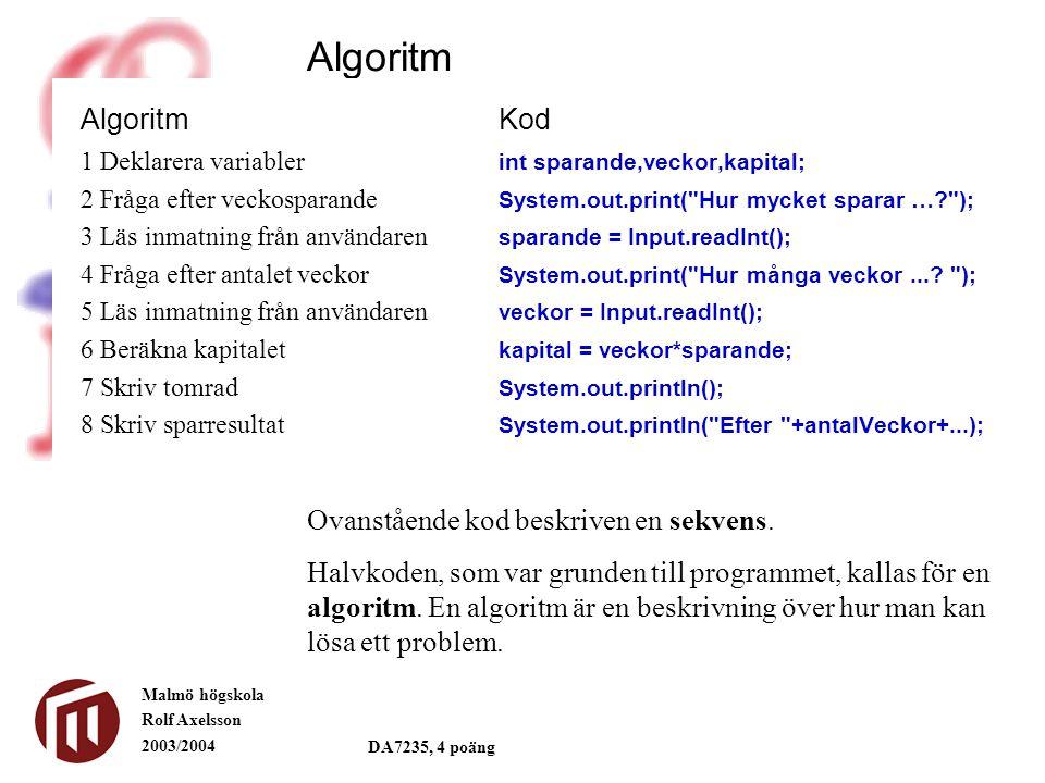 Malmö högskola Rolf Axelsson 2003/2004 DA7235, 4 poäng Algoritm 1 Deklarera variabler int sparande,veckor,kapital; 2 Fråga efter veckosparande System.out.print( Hur mycket sparar …? ); 3 Läs inmatning från användaren sparande = Input.readInt(); 4 Fråga efter antalet veckor System.out.print( Hur många veckor....
