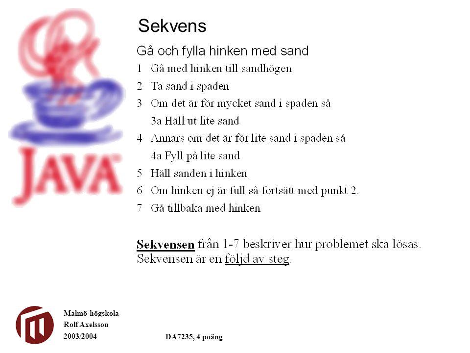 Malmö högskola Rolf Axelsson 2003/2004 DA7235, 4 poäng Sekvens