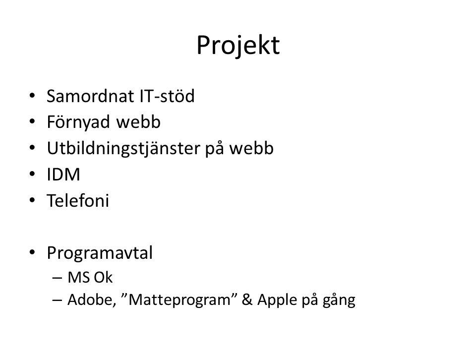 Projekt Samordnat IT-stöd Förnyad webb Utbildningstjänster på webb IDM Telefoni Programavtal – MS Ok – Adobe, Matteprogram & Apple på gång
