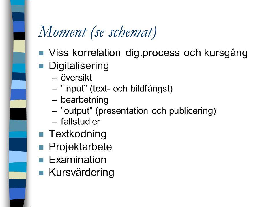 """Moment (se schemat) n Viss korrelation dig.process och kursgång n Digitalisering –översikt –""""input"""" (text- och bildfångst) –bearbetning –""""output"""" (pre"""